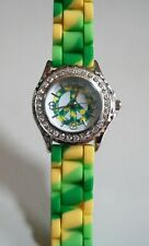Fashion Peace Sign Jelly Silicone Rhinestone Girls,Women Colorful Casual Watches