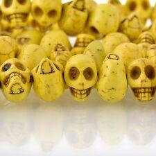 12mm YELLOW Howlite Skull Beads, Drilled Sideways, 40 beads, how0674