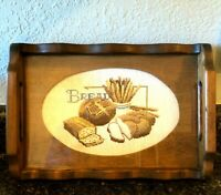Vtg Wood Serving Bread Tray Cross-Stitch Completed 14 x 9.5 Farmhouse Rustic