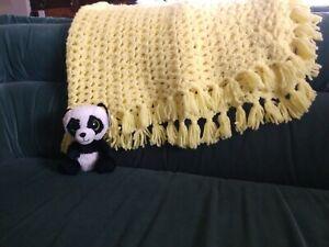 Crochet handmade yellow afghan