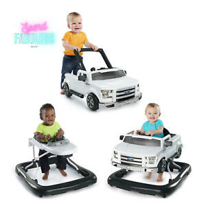 Bright Starts Baby Walker with Activity Station 3 Ways to Play Ford F-150 White