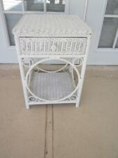 White Peacock Wicker Nightstand One drawer Shipping not Included