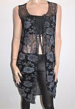 FLOWER Designer Black Floral Sleeveless Longline Cardigan Size 10 BNWT #SH10