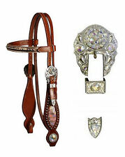 WESTERN BLING ! LEATHER HORSE BRIDLE HEADSTALL WITH REINS & CRYSTAL RHINESTONES