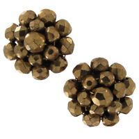 Antiqued Gold Tone Gilded Glass Beaded Cluster Clip On Earrings Vintage
