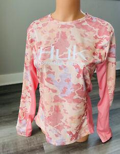 Huk Fishing Women's Pink Long Sleeve Shirt L