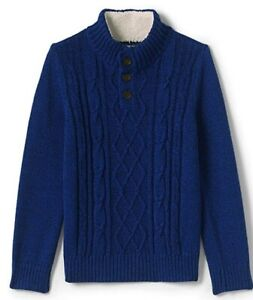 NWT Lands' End Boys Cable Button Mock Neck Sweater (Size XL, Deep Sea Navy)
