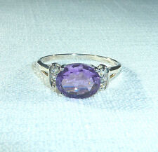 2.40ct Genuine Amethyst/White Topaz 925 Sterling Silver Ring US (10) AU (T 1/2)