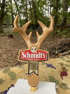 SCHMIDT'S BUCK ANTLERS Draft beer tap handle Rare Vintage