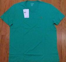 Mens Authentic Lacoste Pima Cotton V-Neck T-Shirt Papeete Green 6 XL $49
