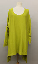 TRANSPARENTE EURO ASYM PLUS COTTON KNIT PULLOVER SWEATER LIME GRN Sz O/S 22 $300