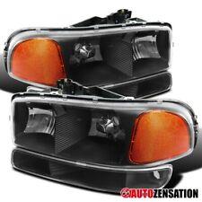 For 1999-2006 GMC Sierra Yukon XL Black Clear Headlights+Bumper Corner Lamps