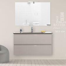 Mobile bagno sospeso 90 cm tortora laccato completo di top cristallo e specchio