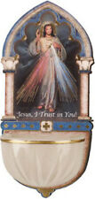 JESUS DIVINE MERCY HOLY WATER FONT - CATHOLIC CANDLES STATUES PICTURES LISTED