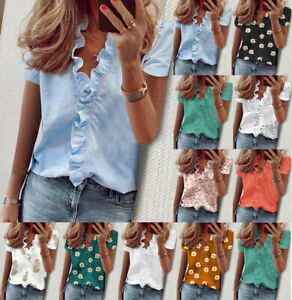 Womens V-Neck Floral Tops T-Shirt Casual Short Sleeve Blouse Lady Tops Plus Size