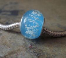 Edler Glas Bead Element Farbe Türkis Blau Silber Luftblasen für Armband 0733