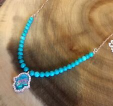 925 Sterling Silver Rose Gold Hamsa Hand Turquoise Necklace Pendant