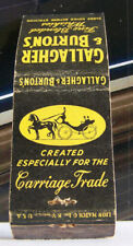 Rare Vintage Matchbook Cover Gallagher Burton Whiskey Horse Carriage Liquor A1
