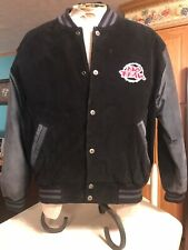 VINTAGE 90's No Fear Leather Varsity Jacket Why Run When You Can Fly Size Large