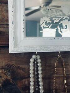 Distressed Farmhouse Mirror with Necklace Organizer