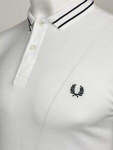 "Fred Perry   Short Sleeve Tramline Tipped Polo Shirt M 40"" (White) Mod Ska 60s"