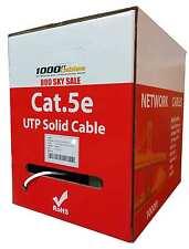 Cat5e Plenum 1000ft Bulk Cable UTP Solid 1000 ft Lan Network Wire  White