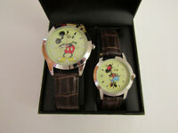 DISNEY MICKEY AND MINNIE MOUSE HIS AND HERS WATCH SET WITH LEATHER BAND MK1367