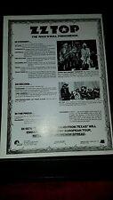 Zz Top Rare Original Industry London Records 1975 Promo Poster Ad Framed!