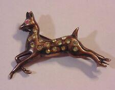 Vintage Sterling Silver 925 Vermeil Paste & Pink Rhinestone Deer Doe Pin Brooch