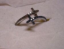 Blue & Champagne Diamond Bypass Ring Size 8  42 diamonds .40tcw  MSRP$799.00