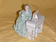 "Irish Dresden Porcelain Lace Figurine ""Rosemarie"" Playing Piano Marked MZ"