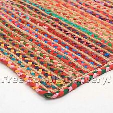 RAMONA COTTON JUTE BRAIDED COLOURFUL FLOOR RUG (M) 150x220cm **FREE DELIVERY**