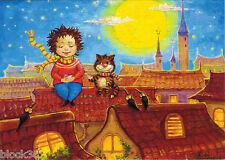 Modern postcard GIRL AND CAT ON THE ROOF IN OLD TOWN publ. in Ukraine