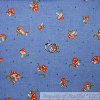 BonEful Fabric FQ Cotton Quilt Purple Red Cream Mushroom Flower Garden Fairy Dot