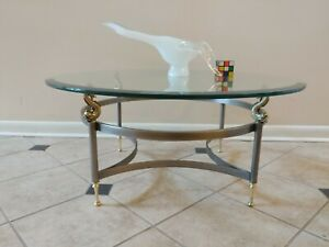 D.I.A. Design Institute of America Steel and Brass Dolphins support Coffee table