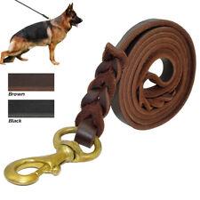 Cuero genuino trenzado mascota perro formación Correa conduce mejor Para Pastor Alemán K9