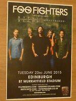 Foo Fighters, Royal Blood, Honeyblood - Edinburgh 2015 concert tour gig poster