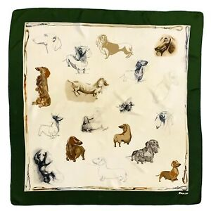 FIORIO DOGS GREEN HAND ROLLED LARGE silk Scarf  34 in #A110