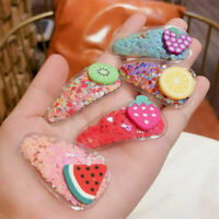 Baby Kids Quicksand Fruit Kiwi Lemon Hair Clips Kawaii Hair Band Accessories