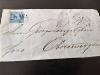"""Bayern Kreuzer-Brief 3 Kr. (2II4)/gMR """"318"""" MITTENWALD -> Oberammergau 8.1.1857"""