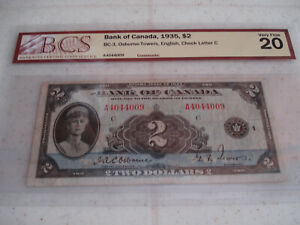 1935 BANK OF CANADA / $2 BANK NOTE - ENGLISH VERSION