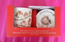 New Royal Worcester Wrendale Designs Robin *Family Christmas*Mug and Coaster Set