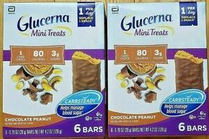 Lot of 2 Boxes GLUCERNA CHOCOLATE PEANUT Mini Treat Bar(Total 12 Bars)Carbsteady