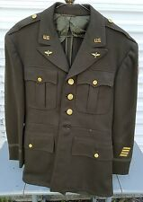 Vintage WW2 Officers US Army Air Corps Uniform Jacket India Berma W/ Pins/Patch