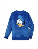 Disney Parks Donald Duck Plush Fleece Pullover Sweatshirt Velour Adult Small