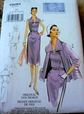 1950s VOGUE VINTAGE MODEL DRESS & JACKET SEWING PATTERN 14-16-18-20-22  UC