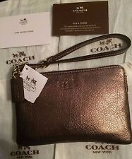 COACH Authentic Bleeker Metallic Gold Pebbled Leather Small L-Zip Wristlet NWT