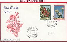 ITALIA FDC SOLE 23 FIORI D'ITALIA FLORA 1967 ANNULLO ROMA Y735