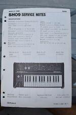 Original Roland SH09 Keyboard Service Notes Manual - March 1980