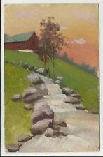 antica cartolina artistica dipinta a mano baita con fiume